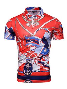 Summer Printed Short Sleeve Polo Shirt For Men