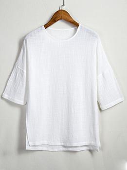 Simple Design Solid Color Linen Men Tee