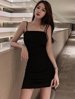 Sexy Solid Backless Split Straps Dress