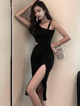 One Shoulder High Split Black Dress
