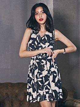 Contrast Color Printing Tie-Wrap Sleeveless Dress