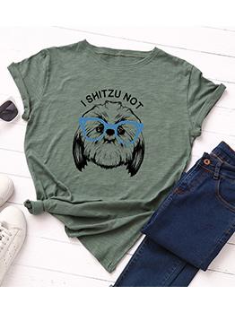Crew Neck Dog Printed Short Sleeve Women T-shirt