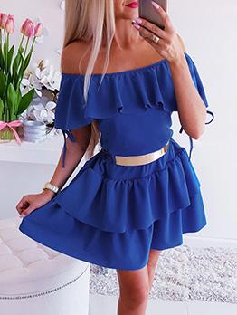 Off Shoulder Ruffled Hem Tie-Wrap Dress