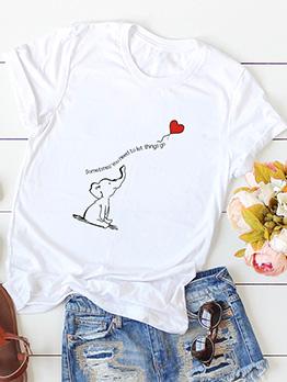 Cartoon Elephant Short Sleeve Tee For Women