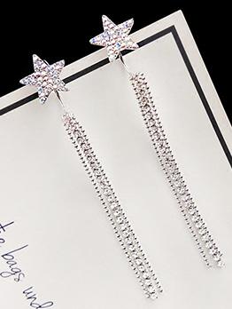 Simple Design Star Rhinestone Tassel Earrings
