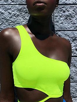 Irregular One Shoulder Bright Color Cropped Top