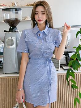 Simple Design Tie-Wrap Striped Shirt Dress