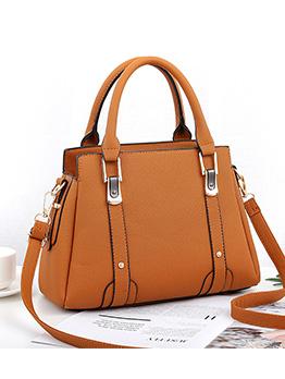 Ol Style Solid Color Metal Splicing Handbag With Belt