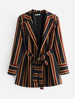 Elegant Striped Long Sleeve Tie Wrap Coat For Women