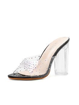 Fashion Rhinestone Patchwork Clear Slip On Heel