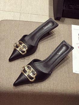 Mental Splicing Pointed Slip On Heels For Women