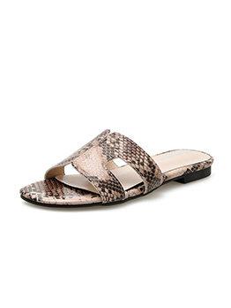 Fashion Snake Printed Flat Slipper For Women