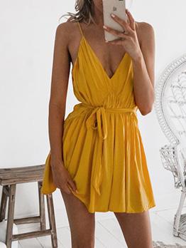 Sexy v Neck Ruched Ladies Spaghetti Strap Dress