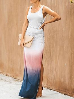 Gradient Color Split Sleeveless Female Maxi Dresses