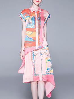 Irregular Contrast Color Printed 2 Pieces Skirt Sets