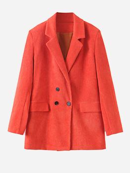 Hot Sale Double-breasted Orange Blazer For Women