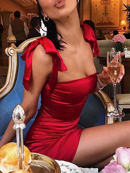 Sexy Solid Shoulder Tied Straps Bodycon Dresses