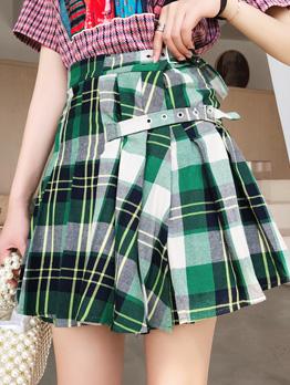 Fashion Plaid High Waist Pleated Skirt