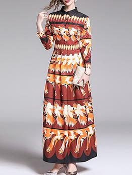 Stylish Birds Printed Long Sleeve Maxi Dresses