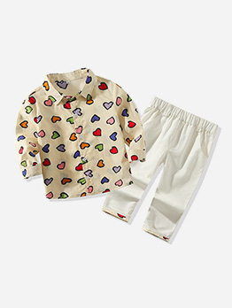 Heart Print Long Sleeve Boy Clothing Sets