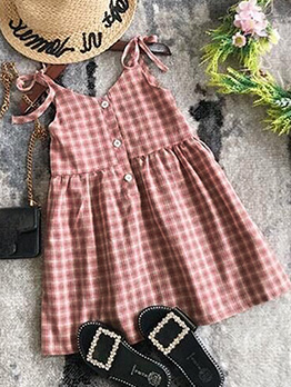 Summer Plaid Tie Shoulder Dress For Girls