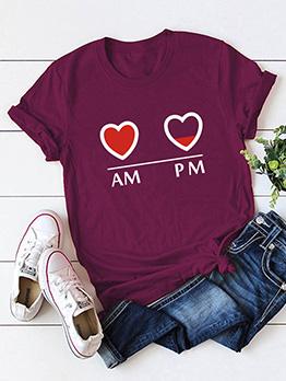 Crew Neck Heart Printed Women Short Sleeve Tee