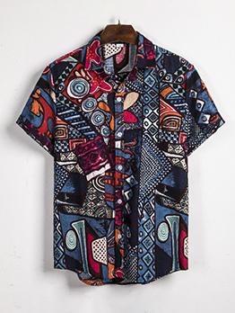 National Style Linen Summer Short Sleeve Shirt