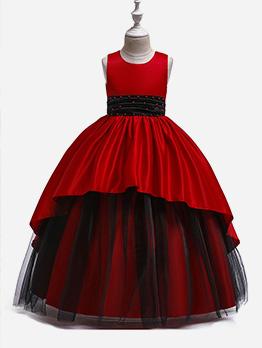 Beautiful Beading Decor Gauze Patchwork Girl Flower Dresses