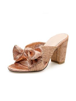 Fashion Bow Chunky Heeled Women Slipper
