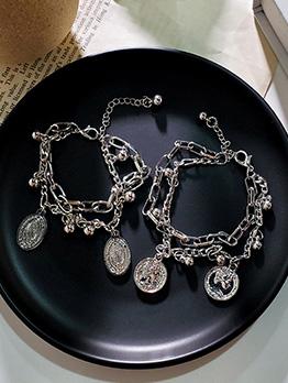 Stylish Round Pendant Beading Chain Bracelet