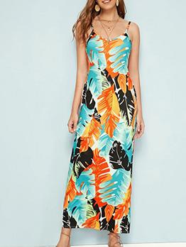 Summer Leaf Printed Sleeveless Maxi Dress