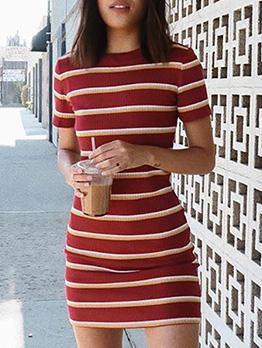 Summer Knitting Striped Short Sleeve Dress