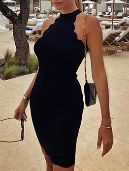 Sexy Solid Halter Off Shoulder Pencil Dresses