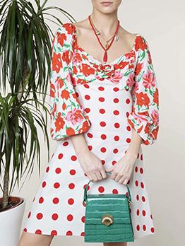 Rural Style Polka Dot Flower Printed Long Sleeve Dress