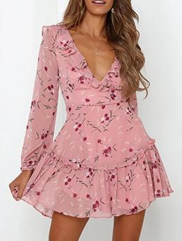 Sexy V Neck Ruffled Backless Long Sleeve Dress
