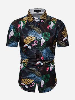Beach Style Plants Printing Short Sleeve Shirt