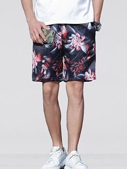Contrast Color Plants Printing Men Half Pants