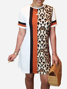 Contrast Color Leopard Short Sleeve Casual Dress