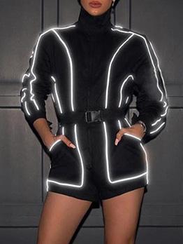 Fashion Striped Patchwork Reflective Zipper Up Romper