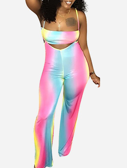 Gradient Color Strapless High Waist Two Piece Outfits