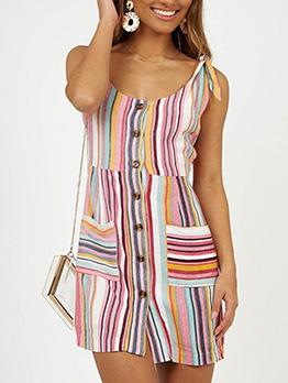 Stylish Tie Shoulder Contrast Color Striped Dress