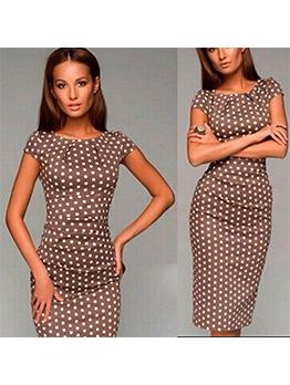 Polka Dot Crew Neck Short Sleeve Dress