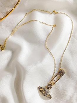 Saturn Pendant Design Rhinestone Ladies Necklace