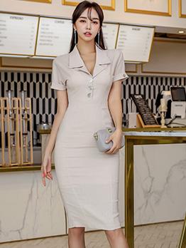 Fashion Lapel Short Sleeve Bodycon Dress