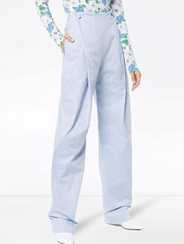 High Waist Solid Wide Leg Jeans For Women