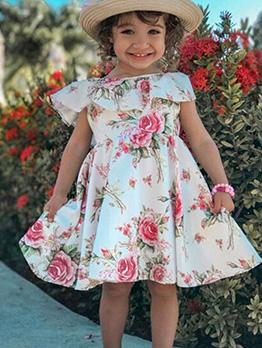 Fashion Flower Printed Ruffled Hem Girl Dress