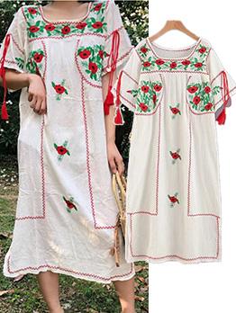 Vintage Embroidery Tassel Short Sleeve Maxi Dress