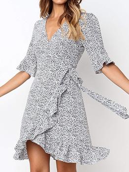 Sexy V Neck Printed Short Sleeve Ruffles Dress
