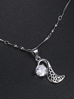 Geometrical Pattern Zircon Simple Women Necklace