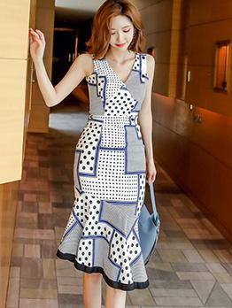 Elegant V Neck Printed Sleeveless Fishtail Dress